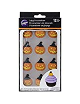 Wilton 710-2122 Pumpkin with Witch Hat Royal Icing Decoration, Assorted