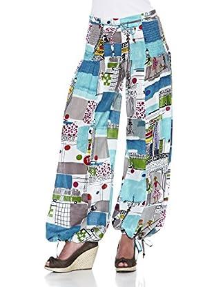 Peace & Love Pantalón Estampado (Azul / Blanco)