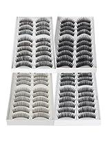 40 Pairs Black Long & Thick Reusable False Eyelashes Fake Eye Lash for Makeup Cosmetic - 4 Kinds of Style