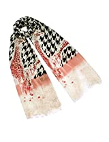 Dahlia Women's 100% Merino Wool Pashmina Scarf - Houndtooth with Red Giraffe
