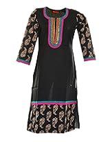 Vinorisa Girl's Cotton Regular Fit Kurti (Black, Large)