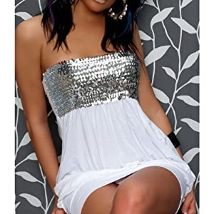 White Sequin Dress | Free Size | Color White