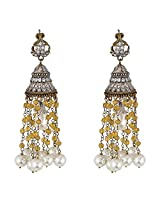 Be You Marvelous White Colour Victorian Look Rhodium Plated Brass Chandelier Earring for Women