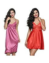 Secret Wish Women's Satin Babydoll Dress Set of 2