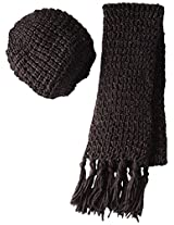 La Fiorentina Women's 2 Piece Chunky Muffler Scarf and Beret Set, Brown, One Size