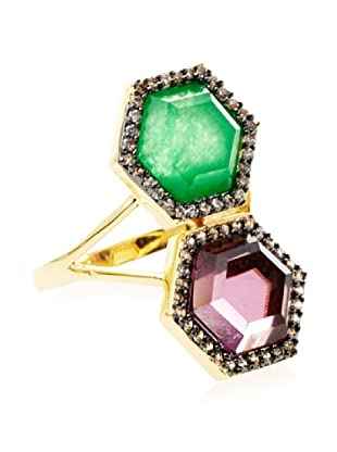 Melani Auld Green Jade and Amethyst Double Hex Ring