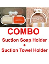 COMBO : Wall Mount Suction Soap holder rack stand + Towel Ring Holder BATHROOM ACCESSORY