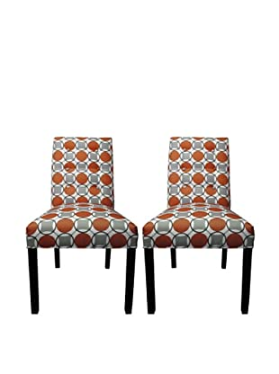Sole Designs Kacey 6 Button Tufted Pair of Dining Chairs, Halo Grani