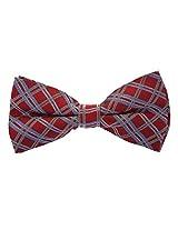 Scott Allan Men's 100% Silk Plaid Bow Tie - Dark Red