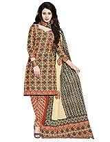 Salwar Studio Cream & Maroon & Black Cotton Dress Material with Dupatta SHIMAYAA-1215