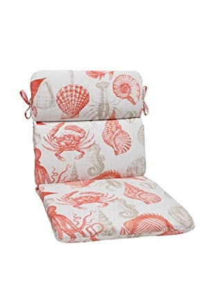 Pillow Perfect Outdoor Sea Life Coral Rounded Corner Chair Cushion, Orange/Tan