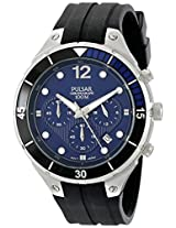 Pulsar Men's PT3639 Stainless Steel Watch with Ridged Silicone Band