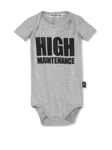 NUNUNU Baby High Maintenance Bodysuit (Heather Grey)