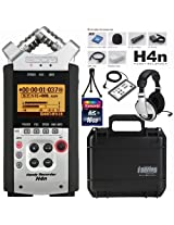Zoom H4n Handy Recorder Bundle with 16GB SDHC Card RC-4 Remote Headphones Mini Tripod and SKB Hard Case