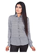 Mallika Women's Micro Fiber Regular Fit Shirt (STMWPR_11XL, Black and White, X-Large)