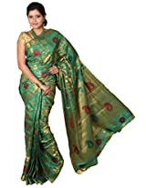 Mimosa Women Tassar Silk Saree with Blouse (3025-118-Tuss-Green,  Green)