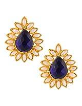 Ethnic India Stud ADIVA Earring Blue tear drop stone with pearl borderABEA0340BL