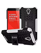 TARKAN Hard Armor Hybrid Rubber Bumper Flip Stand Rugged Back Case Cover For Xiaomi Redmi Note 2 [White]