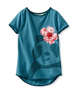 Zolima Panda Girl's T-Shirt with Appliqué (Mediterranean Blue)