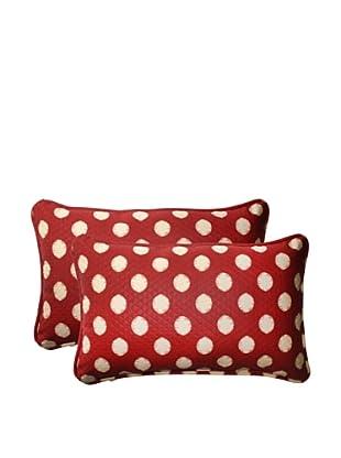 Outdoor Solar Spot Henna Rectangle Corded Toss Pillows (Red/Tan)
