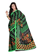 Ambaji Black & Green Coloured Dani Georgette Printed Saree