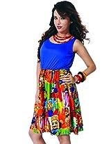 Garden Vareli Womens Crepe A-Line Dress (Gardenvareli Western Dress 1019-B _Blue _Large)