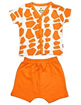 BIO KID Clothing Set for Kids (BB1I-T181-62_0-3 Months, 0-3 Months, Off White/ Brown)