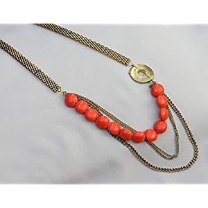 No Strings Attached Tangerine Bead Gold Polo Necklace