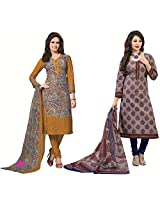 Rajnandini Combo of cotton Printed Unstitched salwar suit Dress Material (Maroon & Blue _Free Size)