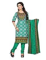 Divisha Fashion Green Colour Cotton Printed Churiddar Suit with Dupatta