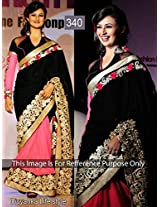 Bollywood Replica Divyanka Tripathi Velvet and Georgette Saree In Black and Peach Colour 340 By Aklavya FAshion