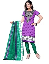 Krisha Print Women's Unstitched Dress Material (Purple_Free Size)