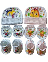 NammaBaby Baby Caps Mitten Booties Set for New Born Pack of 2 - Assorted Design (RED,BLUE