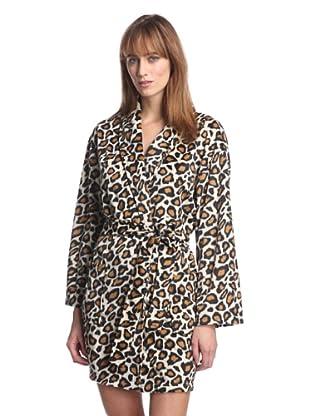 Aegean Apparel Women's Leopard Minky Robe (Tan Multi)