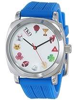 TKO Cool Silver Case Blue Rubber Fun Emoji Icon  White Face Watch TK635BL