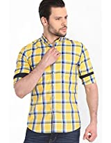 Checked Yellow Casual Shirt