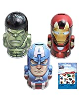 3-Pack Marvel Character Molded Saving Bank Gift Set - Featuring Iron Man, The Hulk and Captain Ameri
