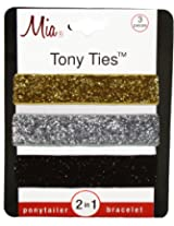 Mia Tony Hair Ties Glitter, Gold, Silver, Black