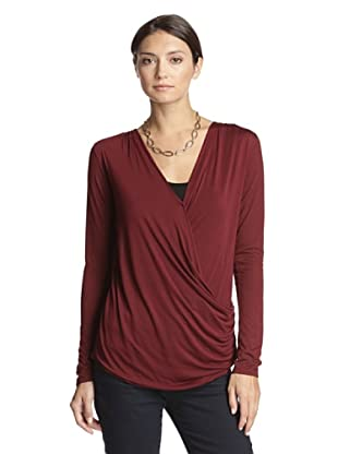 Bella Luxx Women's Draped Top (Burgundy)