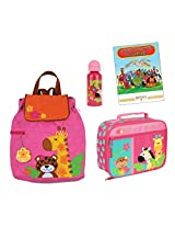 Stephen Joseph Quilted Backpack, Lunch Box, & Bottle Set, Girl's Zoo