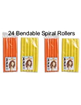 "9 1/2"" Spiral Hair Bendable Foam Curler Roller Set Twist Curls Flex Rods 2 Sizes (24 Pieces)"