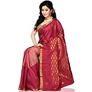 Utsav Fashion Handloom Saree with Blouse - Dark Red