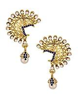 Voylla Alluring golden danglers with blue stones