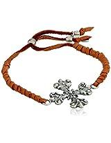 Ettika Adjustable Rust Deerskin Leather Bracelet With Flower Cross Charm - 10