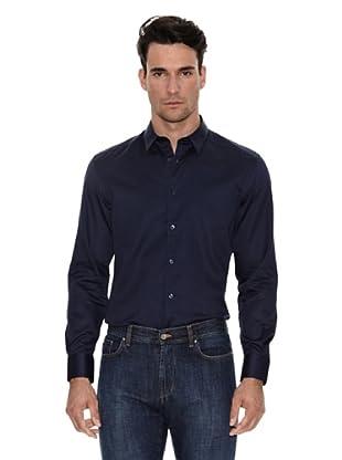 Versace Camisa Lisa Básica (Azul marino)