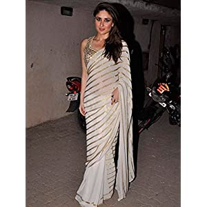 Lime UNITRNZ_5144 Kareena Kapoor Saree - White