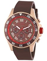 red line Men's RL-60055 Chronograph Brown Dial Brown Textured Silicone Watch