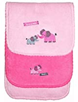 Safari Burp Cloth with picot trim and stuffing, 2 pack, Pink, Frenchie Mini Couture