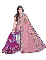Sangam Carott & Dark Pink Half Half Net Work Sari