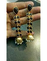 Fancy golden jhumka with black stones